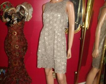 Vintage  90s Flapper Dress  Lace  Metallic  Tea party Holiday  Size 12