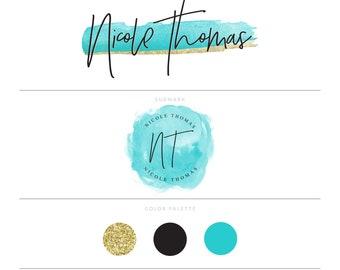Turquoise Logo Watercolor Logo Gold Logo Photography Logo Watermark Blog Logo Makeup Artist Logo Eyelash Logo Lash Logo Design MUA Logo