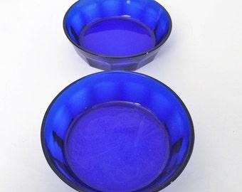 Cobalt Blue Libby Duratuff Bowls, 2 blue glass bowls
