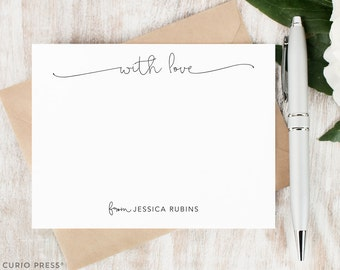 Personalized Notecard Set / Flat Personalized Stationery / Personalized Stationary Card Set / Simple Script Cute Chic Notes // WITH LOVE