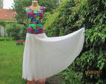 Long Circle Skirt / Cotton  Skirt / White Cotton Skirt / Circle Cotton Skirt / White Circle Skirt / Size EUR42 / UK14 / Linen