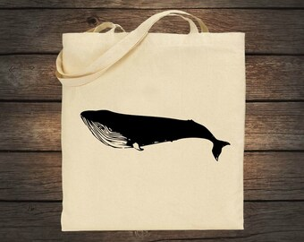 Blue Whale Market Tote Bag