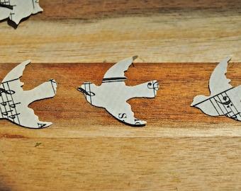 "250 Vintage DOVE / bird Cutouts (1"") - Vintage Music Sheet- confetti"