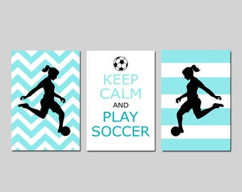 Soccer Decor for Girls Soccer Wall Art Soccer Room Decor Girls Soccer Decor Set of 3 - Keep Calm and Play Soccer Quote - CHOOSE YOUR COLORS