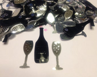 15 assorted wine bottle and glasses confetti / sequins , 25-35 mm (15)