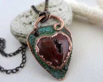Red Moss Agate Heart Necklace, Natural Druzy Stone w/Verdigris Copper,  Unique Handmade Pendant and Chain