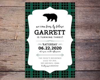 Bear-ly Believe birthday invitations, flannel birthday party invite, bear, woodland, outdoor, plaid birthday, lumberjack birthday