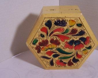 Vintage Wooden Box with Celuloid Overlay