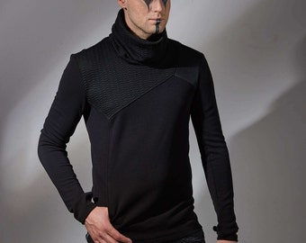 Cyberpunk sweater avant garde clothing futuristic for men Thumbhole sweater asymmetrical clothing sci-fi turtleneck sweater black GR3