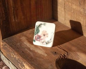 Painted Floral Ceramic Tile Adjustable Ring