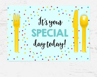 Birthday Placemat - It's Your Special Day Today - Blue with Colorful Dots - Can be personalized - Special Occasions - Graduation - First Day