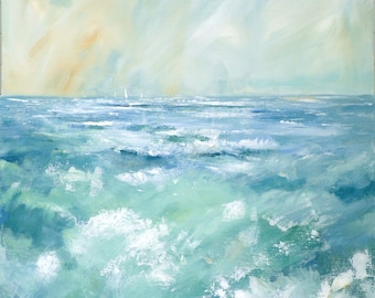Giclee print, original cornish seascape, coastal art, rough seas, made in Cornwall