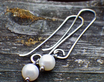 White freshwater pearl sterling silver long dangle earrings