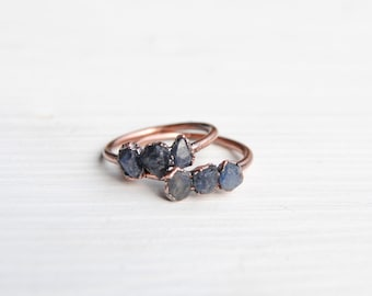 Raw sapphire ring, blue sapphire ring, raw stone ring, september birthstone ring, september birthstone jewelry