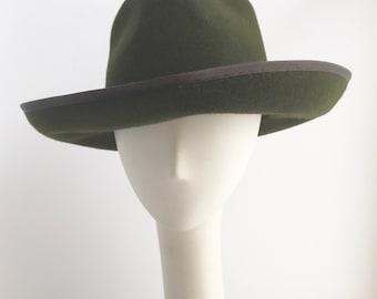 Green Felt Fedora with Black Leather Trim