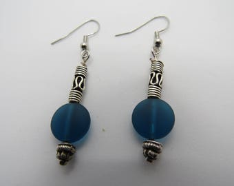 Silver and Teal Green Earrings
