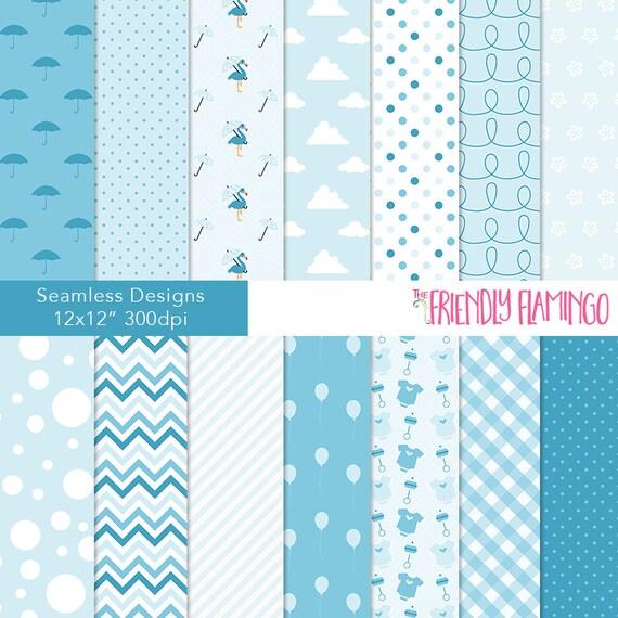 Baby shower digital paper pack blue baby boy scrapbook for Baby shower paper crafts