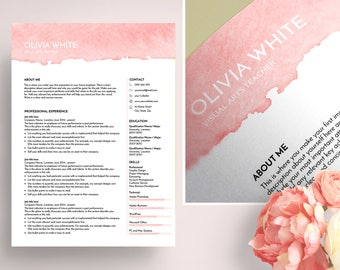 creative resume template, resume template ms word, CV template, professional resume, modern resume, art teacher resume, Olivia resume, pink