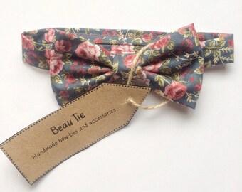 Baby boys bow tie, baby bow tie, floral baby bow tie, cotton bow tie, kids bow tie, page boy