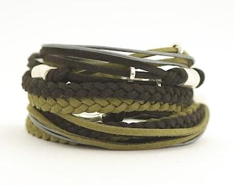 Black Olive Men's Bohemian Bracelet, Black Sage Wrap Boho Bracelet, Men's Leather Bracelet, Bohemian Jewelry, gift for him, boho