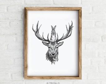 Art Print - A Better View, Rabbit and Deer - Giclée print of an original illustration