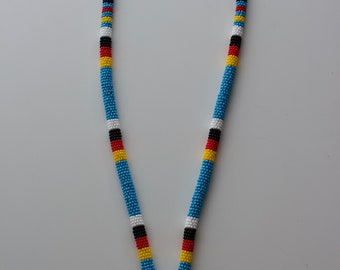 Beaded Lanyard - light blue and four medicine wheel colours with key ring