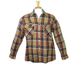 Hipster Vintage 1960's Men's Plaid Flannel Shirt, Large Tall