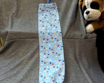 Plastic Bag Holder Sock, Small Puppy Paws on Blue Print