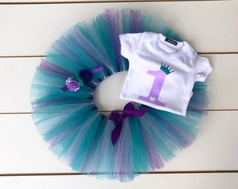 3 Piece Cake Smash Outfit - First Birthday Outfit - Teal, Purple and Lavender