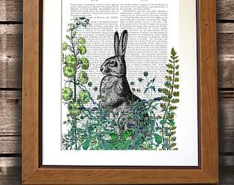 Rabbit Print - Rabbit in the Garden print - Rabbit art gardening gift gardeners gift rabbit gift floral print flower art country style art