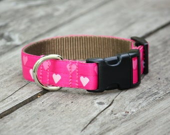 Candy Hearts Grosgrain Adjustable Dog Collar / X-Small, Small, Medium, Large, X-Large / Made in Japan