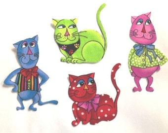 Set of Four Adorable CAT Appliques*Handmade*LORALIE Fabric/258