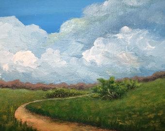 Winding Path: small landscape, landscape painting, small painting acrylic painting landscape art cloud painting cloud art acrylic landscape