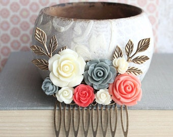 Floral Bridal Comb Coral and Grey Rose Hairpiece Spring Wedding Branch Comb Ivory Cream Floral Hair Accessories Romantic Colorful Bridal