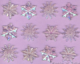 CRYSTAL SNOWFLAKES Clear Iridescent Christmas Dress It Up Craft Embellishments