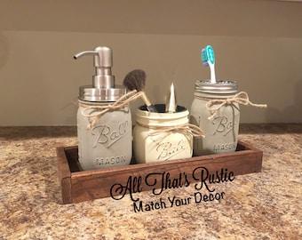 Rustic Mason Jar Bathroom Set, Bathroom Set, Mason Jar Decor, Rustic Home Decor, Rustic Decor, Painted Mason Jars, Rustic Wood decor, Gift