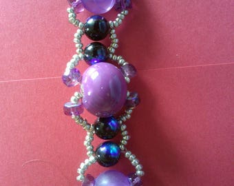 purple bracelet and silver seed beads