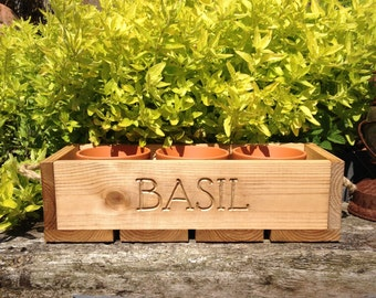 Trough - Handmade Reclaimed Wood 'Basil' Trough complete with 3 Terracotta Pots
