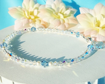 Something Blue Anklet Swarovski Aquamarine Blue Crystal Wedding Ankle Bracelet Jewelry