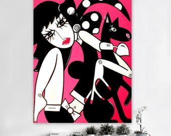 Woman Painting, Abstract Painting on canvas, Woman Art, Acrylic abstract art, Modern POP Art, Wall Art, Wall Decor