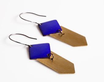 Jess Earrings - Enamel Squares and Brass Chevrons, Geometric, Triangle, Arrow, Chevron