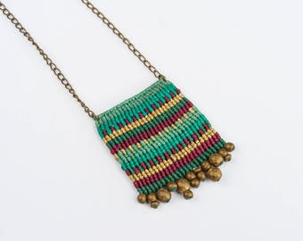 Long macrame necklace with gold plated hematite beads - colorful necklace !