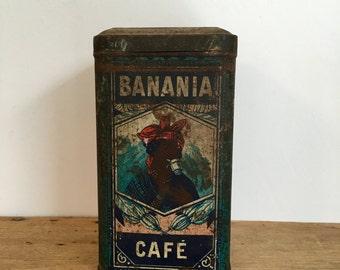 French Vintage Blue Banania Kitchen Storage Tin