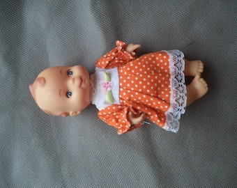 Vintage doll, Baby doll, Vintage doll baby ,Plastic doll baby ,  Doll wearing orange dress, Doll baby, Vintage toy doll