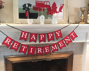 Happy Retirement banner, retirement celebration, time to retire, next chapter, decorations
