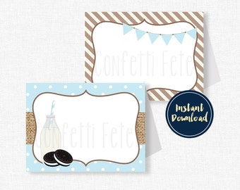 Milk and Cookies Buffet Labels, Cookie Place Cards, Milk and Cookies Party Decorations, Printable Food Labels INSTANT DOWNLOAD