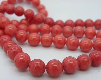 50 8 mm jade round jaspe rust red rust orange