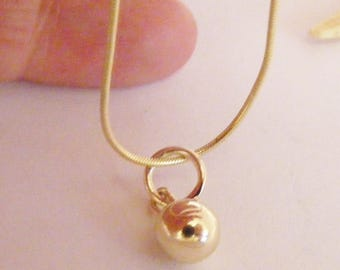 7mm 9ct solid Gold Sphere Pendant - British Handmade, 9k gold ball Jewellery IN STOCK
