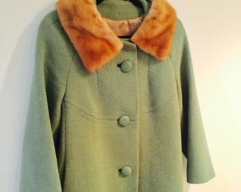 Vintage 1960's Fabulous Winter Coat / Sage Green Warm Wool Coat / Size Medium Mink Collar Collar