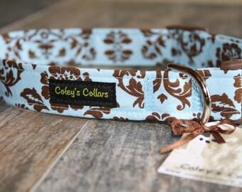 """Dog Collar  """"Beautiful in Blue Damask"""""""